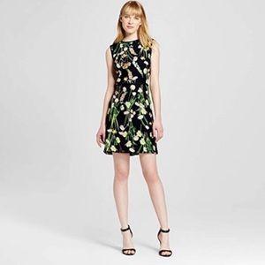 Victoria Beckham Floral Black Green Dress S